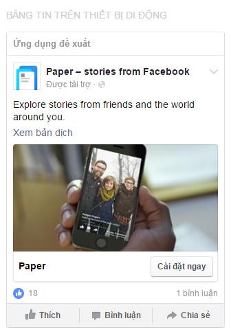 quang cao facebook app
